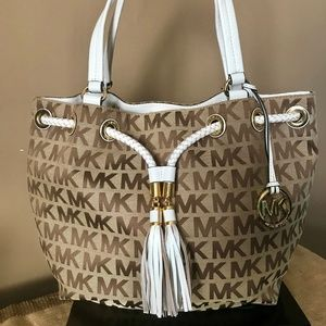 Michael Kors Logo Drawstring Satchel Tote Handbag